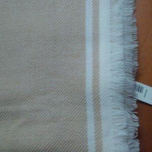 NWT GAP Beige w/White Stripe Super Soft Scarf